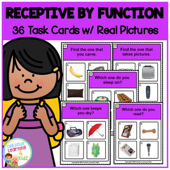 Receptive by Function Task Card ABA Special Education