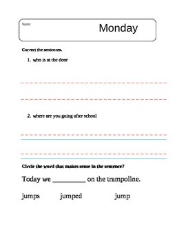 Language Arts Morning Work Sheets