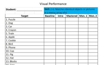 ABA/Verbal Behavior Skill Tracking Sheets - Visual Performance