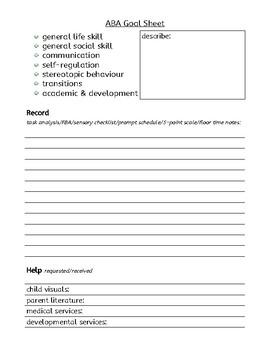 ABA goal sheet
