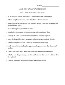 ABBI SAW A WUWU handout and worksheet -- complex sentences, transitional phrases