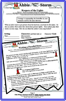 ABBIE AGAINST THE STORM by Marcia Vaughn.  A Model for Writing a Parallel Story