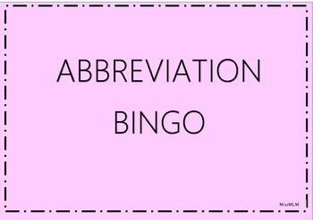 ABBREVIATION BINGO