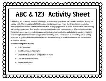 American Sign Language - ABC & 123 Activity Sheet with ASL