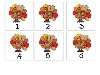 ABC 123 Matching Thanksgiving Activity