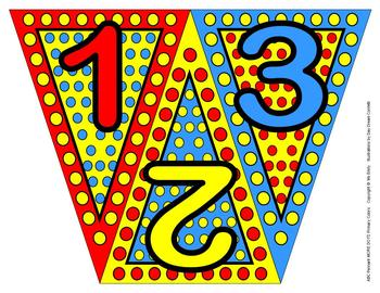 ABC, 123 Pennants Primary More Dots