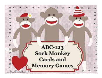 ABC-123 Sock Monkey Cards and Memory Games
