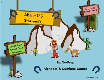 ABC & 123 Stampede Games - Level 1, 2 & 3 (6 Games)