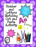 ABC AND Number Matching Cut and Paste Matching Activity