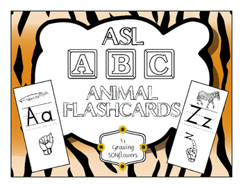 ABC ASL Animal Flashcards through the Alphabet teaching Si