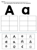 ABC Alphabet Cut, Paste, and Match Worksheet