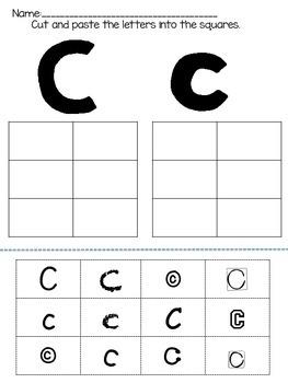 ABC Alphabet Cut, Paste, and Match Worksheet