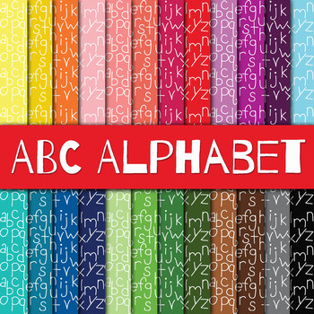 ABC Alphabet Digital Paper Pack - 24 Different Papers - 12 x 12