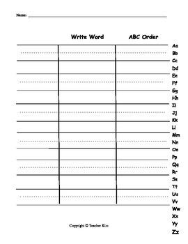 ABC Alphabet Order Worksheet