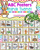 ABC Alphabet Posters Animal Theme!  (Rainbow Chevron Background)