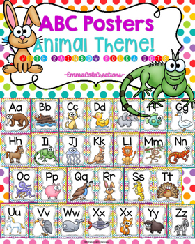 ABC Alphabet Posters Animal Theme! (Rainbow Polka Dot Background)