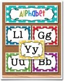 ABC Alphabet  Word Wall Cards Rainbow Polka Dot
