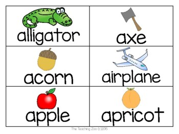 ABC Alphabet Word Wall Cards with Pictures