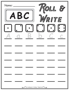 ABC Alphabet Writing Practice Roll and Write Activity