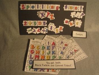 ABC Alphabet and Number Puzzle Pieces. Fun Craft Art