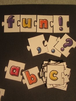 ABC Alphabet and Number Puzzle Pieces. Fun Craft Art