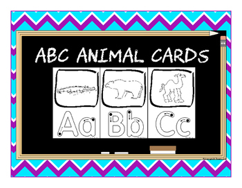 ABC Animal Cards with Finger Dot Handwriting Practice