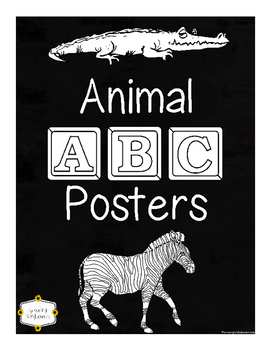 ABC Animal Coloring Posters Through the Alphabet Classroom Decor