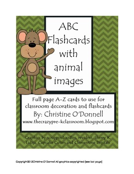 ABC Animal Flash Cards and classroom decor