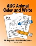 ABC Animal Handwriting Worksheets / Alphabet Coloring Sheets