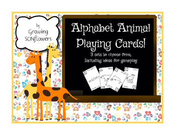 3 sets of ABC Animal Playing Cards with instructions for games included