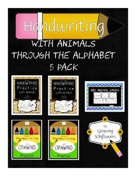 ABC Animals Handwriting Practice Through the Alphabet 5 Pack 150 pgs!
