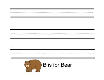 ABC Animals Printing Practice Worksheet