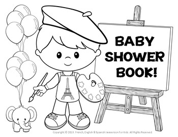 ABC BABY SHOWER BOOK PARISIAN THEMED FOR BOYS!  NEW PRODUCT!