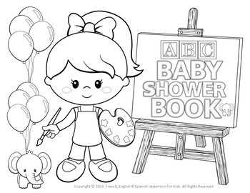 Abc Baby Shower Coloring Book For Girls Little Artists New Product