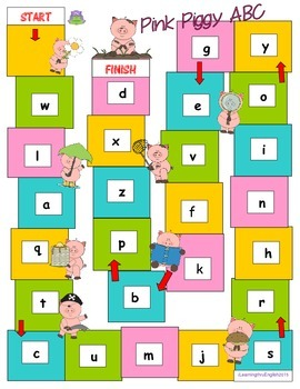 PHONICS ABC BOARDGAME - PINK PIGGY ABC - PRINTABLE with SUPPORTING WORDS