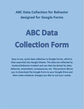 ABC Behavior Chart designed for Google Forms