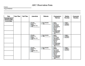 Abc Template | Abc Behavior Observation Template By Ashley Seehorn Tpt