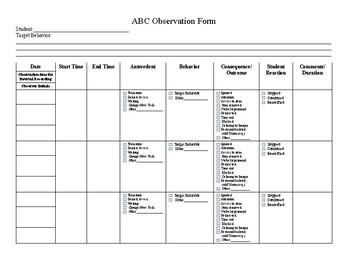 ABC Behavior Observation Template by Martha Seehorn ...