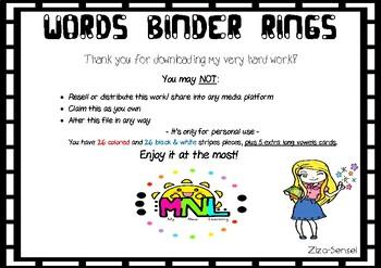 ABC- Binder Rings (fan style) - Make a Word