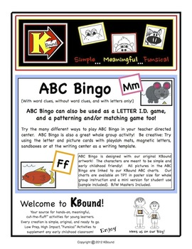 ABC Bingo. KBound Characters!  A Funsical Favorite! Many Ways To Play!