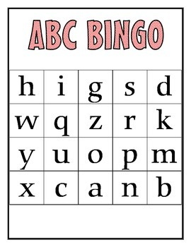 ABC Bingo cards - Lowercase letters