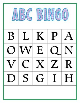 ABC Bingo cards - Uppercase letters
