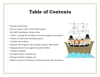 Colonial America and Revolutionary War Unit- ABC Book Research Projects!