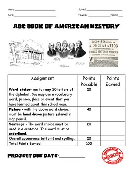 ABC Book of American History Project