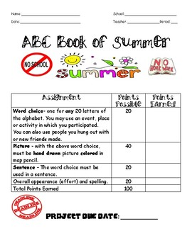 ABC Book of What I Did This Summer!