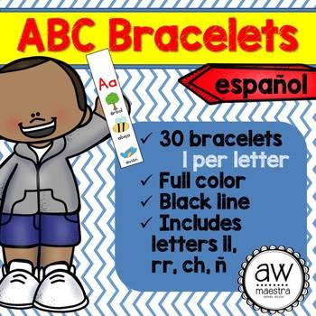 ABC Letter Bracelets Spanish - Pulseras del abecedario (sonidos inciales)