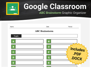 ABC Brainstorm Graphic Organizer for Google Classroom