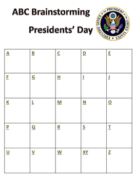 ABC Brainstorming Presidents' Day