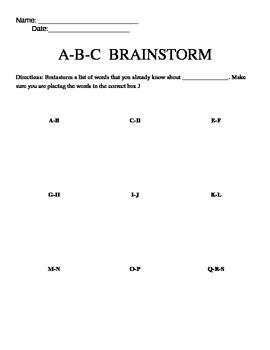 ABC Brainstorming Sheet-any subject