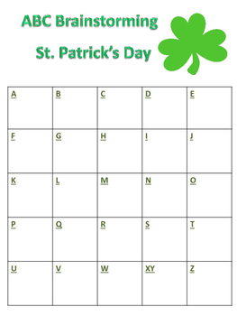 ABC Brainstorming St. Patrick's Day